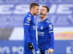 Jamie Vardy celebrates with James Maddison after Leicester's equaliser against Man United. REUTERS/Michael Regan
