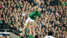 Peter O'Mahony, Ireland, claims possession from a lineout. RBS Six Nations Rugby Championship, England v Ireland, Twickenham Stadium