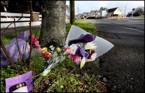 Flowers left at the scene of the fatal crash on Avondale Road leading from Ballinclea Road in Dalkey. Pic Steve Humphreys, 11th March 2020