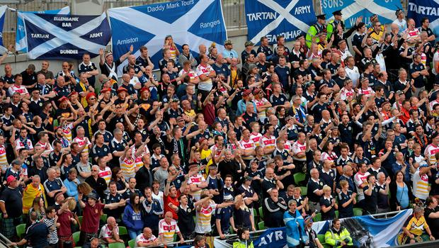 13 June 2015; Scotland supporters cheer on their side during the game. UEFA EURO 2016 Championship Qualifier, Group D, Republic of Ireland v Scotland, Aviva Stadium, Lansdowne Road, Dublin. Picture credit: Brendan Moran / SPORTSFILE