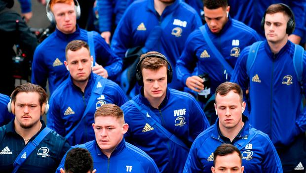 Leinster players, including Josh van der Flier, centre, arrive prior to the Heineken Champions Cup Pool 1 Round 5 match between Leinster and Toulouse at the RDS Arena in Dublin. Photo by Stephen McCarthy/Sportsfile