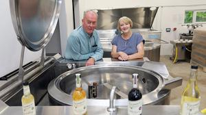Cordial company: David and Martina Burns pictured in the production area of Richmount Cordials on their farm in Carrickboy, Co Longford. PHOTO: Lorraine Teevan