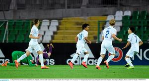13 May 2015; Marcus Edwards, second from left, England, celebrates with team mates after scoring his side's first goal. UEFA European U17 Championship Finals Group D, Republic of Ireland v England, Stara Zagora, Bulgaria. Picture credit: Pat Murphy / SPORTSFILE