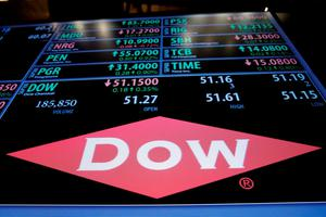 The Dow Chemical logo is displayed on the floor of the New York Stock Exchange. Photo: Reuters