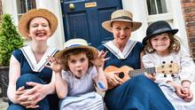 Sinead Murphy and Darina Gallagher with six-year-old twins Tess and Annie May Olwill at the Bizarre Bloomsday Brunch, North Great Georges Street, Dublin, yesterday