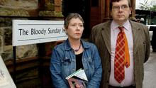 Liam Clarke with his wife Kathryn Johnston at the Bloody Sunday Inquiry in 2003 Photo: Trevor McBride