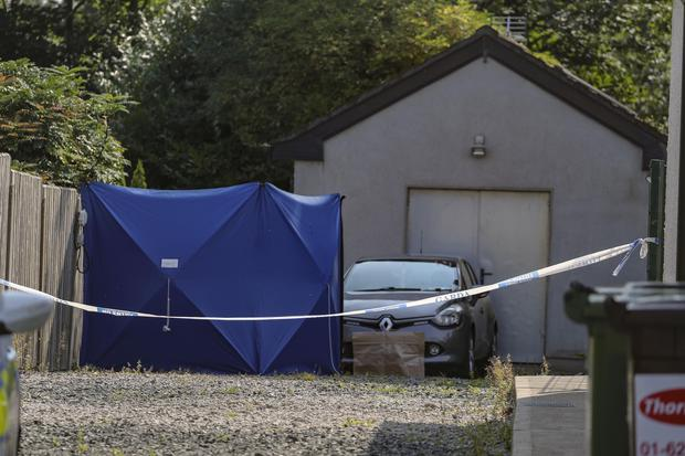 The scene on Trim Road, Enfield, Co Meath, where the body of a man was discovered yesterday. Photo: Paul Nicholls/MediaPix