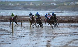 Horses round a bend on the beach during Ballyheigue Races in Co Kerry. Photo: Domnick Walsh