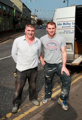 "Donegal senior player Dermot ""The Brick"" Molloy pictured with his father John ""The Block"" Molloy"