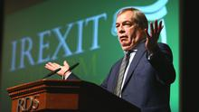 Nigel Farage pictured speaking at an Irexit conference hosted in RDS. Picture: Frank Mc Grath