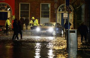 A car in flood water in Cork city