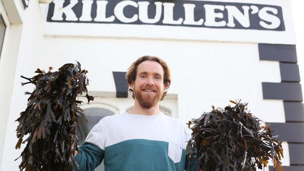 Seaweed bath: Kane Kilcullen in Enniscrone. Photo by Lorcan Doherty