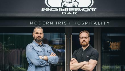 Ciaran Smith (in black) and Aaron Wall (blue) are the owners of the London-based cocktail bar Homeboy Bar. Photo: Lateef Photography
