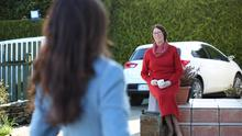 New norm: Kathy Donaghy talking to her mother while respecting social distancing. Photo: Lorcan Doherty/INPHO