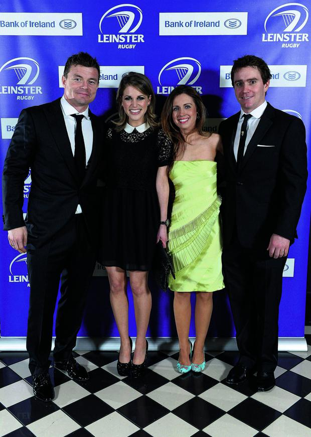 Brian O'Driscoll and Eoin Reddan with their wives Amy Huberman and Aoife Reddan at the annual Leinster Rugby Awards Ball in the Mansion House.