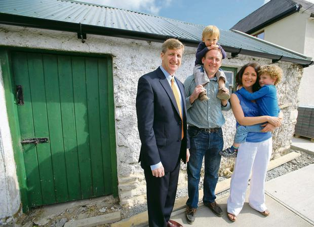 From left, Patrick Kennedy, Patrick Grennan (third cousin of JFK), his wife Siobhan, with their children Eanna and Donagh, at the ancestral homestead in Dunganstown.