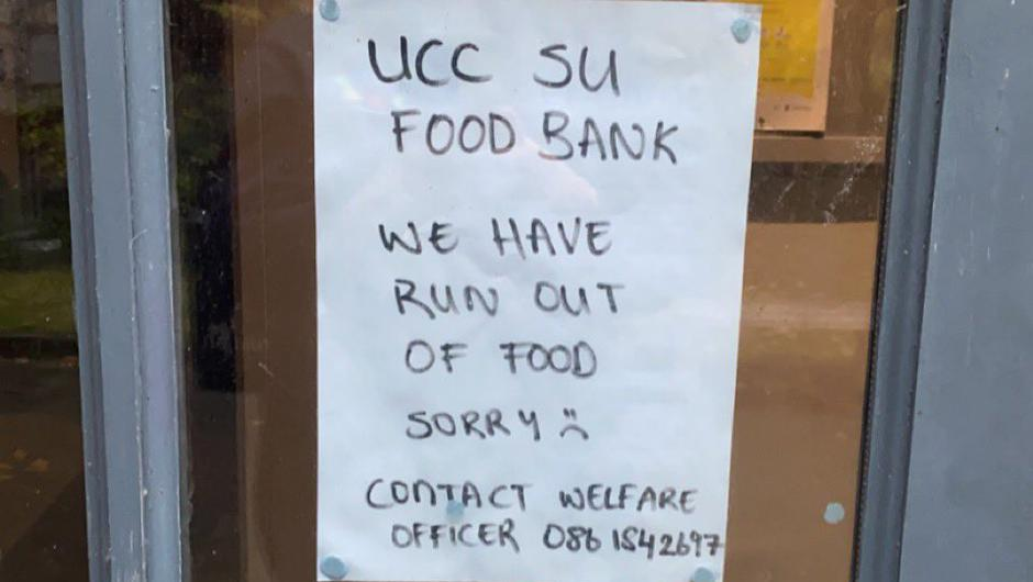 The food bank ran out of supplies after just 48 minutes on Wednesday evening. Photo: UCC Student Union.
