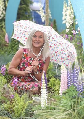 Olivia Treacy in the Specsavers 'Wonderful Awakening' show garden ahead of the opening day of the Bloom festival. Photo: Damien Eagers