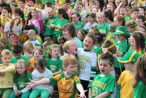 Children from Scoil Iosagain in Buncrana Co-Donegal singing and dancing their support for the two Donegal GAA teams in Sundays All Ireland Final. The entire school dressed in Donegal colours took part in Thursdays big event in the playground. Pictures Margaret McLaughlin