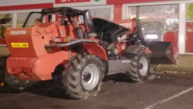 The PSNI are appealing for information after thieves used an allegedly stolen digger to rip out an ATM machine in Tyrone in Omagh.