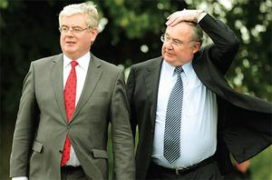 Labour leader Eamon Gilmore (left) and Pat Rabbitte at the recent Labour party think-in at Tullow, Co Carlow