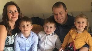 Deirdre Morley with husband Andrew McGinley and children Conor, Darragh and Carla.