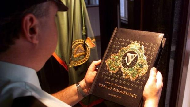Memorial: The RUC book of remembrance records those officers killed in the line of duty. Photo: PA