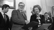 Signing of the Anglo-Irish Agreement at Hillsborough Castle, November 1985: An Taoiseach Dr Garret Fitzgerald shakes hands with British Prime Minister Margaret Thatcher. Pic: Matt Walsh