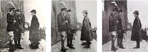 Patrick Pearse, with Elizabeth O'Farrell on his right (she was later said to be airbrushed from the photograph and from history), surrenders to General Lowe after the Rising in Dublin.