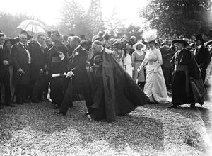 Daniel Mannix (President of the College, circled), photographed with King George V and Queen Mary in the grounds of St Patrick's College in Maynooth, in July 1911. Also in the photograph are Cardinal Michael Logue, Primate of All Ireland, Reverend Dr. Will