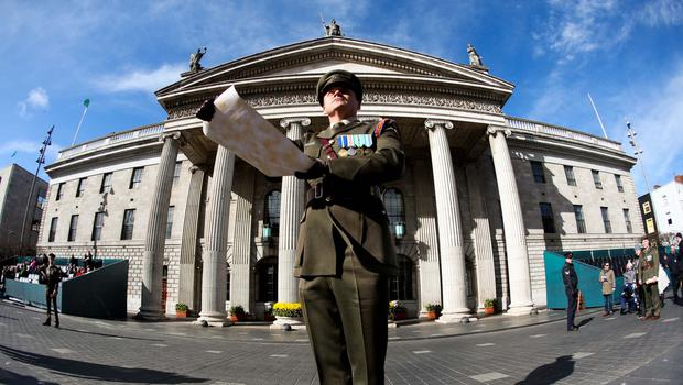 Captain Peter Kelleher from the 27th Infantry Battalion reads the Proclamation at the GPO on O'Connell Street on March 27, 2016 in Dublin, Ireland.