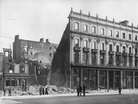 Ruins of Clery's stores and the Imperial Hotel, Dublin, destroyed in the Easter Rising. Photo: Getty Images