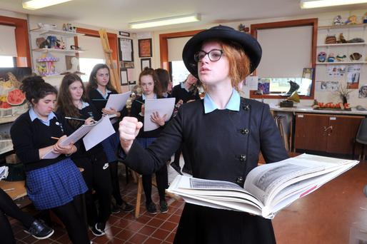 St Mary's School, Mallow Transition Year students sketch their classmate Jane Walsh as Countess Markievicz, as part of their 1916 history project on '1916 Women of the Age'. Photograph: Daragh Mc Sweeney/Provision