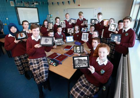 The Yale Junior Cycle class group at Donabate Community College pictured with their projects on the 1916 commemoration which they completed on their IPads.Picture Credit: Frank Mc Grath