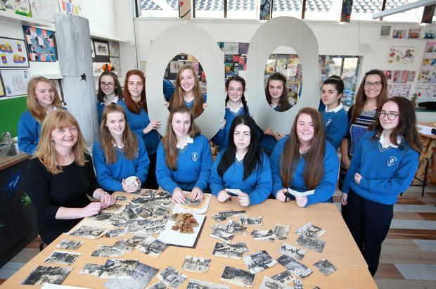 Transition year students at Scoil Mhuire in Trim pictured with their teachers Maira Ni Anluain (on left) and Eimear Flynn and their project on the 100 years commemoration of 1916. Note the used tea bags on the table, which are used to add a retro sepia col