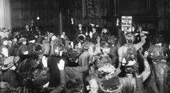 16th March 1914: A Protestant Truth Society's women's meeting in Carton Hall, to protest against Home Rule for Ireland. A show of hands as approval of a petition to the King