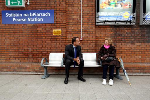 Former transport minister Leo Varadakar at Pearse Station in 2013 to officially open the new entrance to the station.