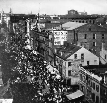 A procession up Broadway in New York to celebrate the laying of 1,016 miles of transatlantic telegraph cable between the US and Ireland in September 1858. The cable ruptured a month later. Photo: Getty Images