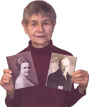 Maureen Waugh with her grandparents' pictures