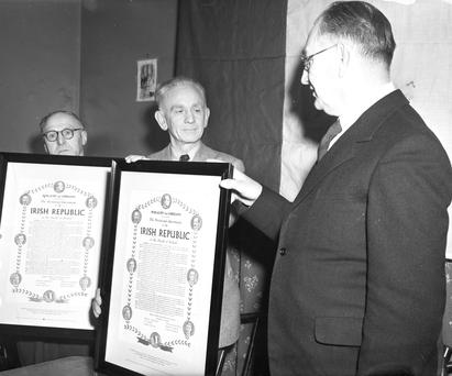 National pride: Presentation is made in 1952 to the printers who set up the Proclamation in 1916.