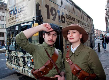 Actors Colm Lennon and Amy Flood on the 'Rise of the Rebels' bus tour. Photo: Paul Sherwood