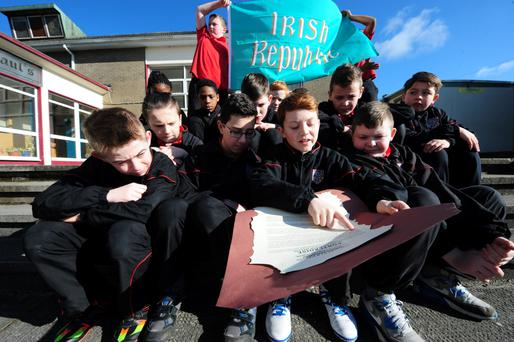 Pupil Mark Kelly reads a new Proclamation to his classmates, which they have written, at St. Paul's Primary School, Portlaoise, Co Laois. Photograph: James Flynn/APX