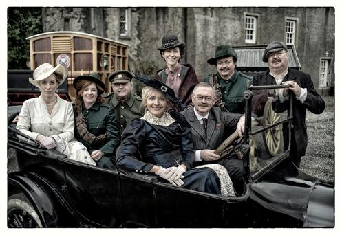Time warp: (Clockwise from left) Kathryn Thomas, Bláthnaid Ní Chofaigh, Marty Whelan, Liz Nolan, Marty Morrissey, Joe Duffy, Sean O'Rourke and Miriam O'Callaghan, at Howth Castle, Co Dublin.