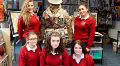 Karis Boyne, Chelsea O Grady, Thomasina McNally, Ciara Meehan and Tori Kelly of St Mary's Secondary School, Edenderry, who helped to create a 1916 soldier's jacket using found materials.