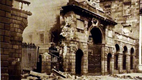 Landmark: Destruction at the Four Courts in the aftermath of the Easter Rising. The restored building is one of the stops on the 1916 Revolutionary Day Tour, run by John Ducie and Terry Lambert.