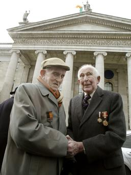 Ceremony: Paddy Cummings, left, and Terry de Valera, son of the former President, at the 90th anniversary. Photo: Martin Nolan