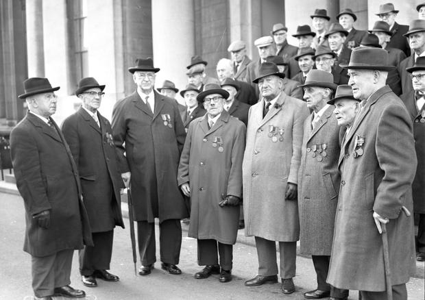 The Boland's Garrison, including Eamon De Valera, during the 50th anniversary commemorations in 1966.