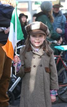 Casey Daniels (5) at the Easter Rising centenary celebrations in Dublin city yesterday. Photo: Damien Eagers
