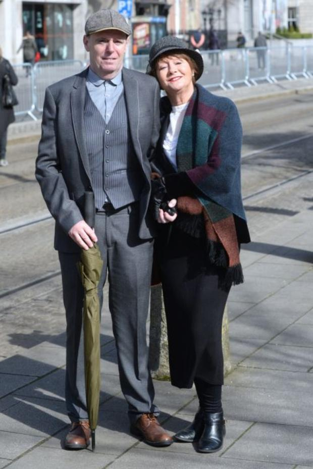 Joan and Nick Wilson at the Easter Sunday 1916 commemorations in Dublin. Justin Farrelly