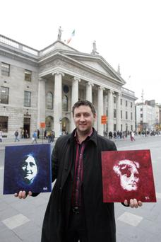 Artist Frances Noel Duffy outside the GPO with his portraits of 1916 women Maud Gonne MacBride and Elizabeth O Farrell. The centenary of the Rising has seen an upsurge in interest in the female revolutionaries. Photo: Liam Mulcahy